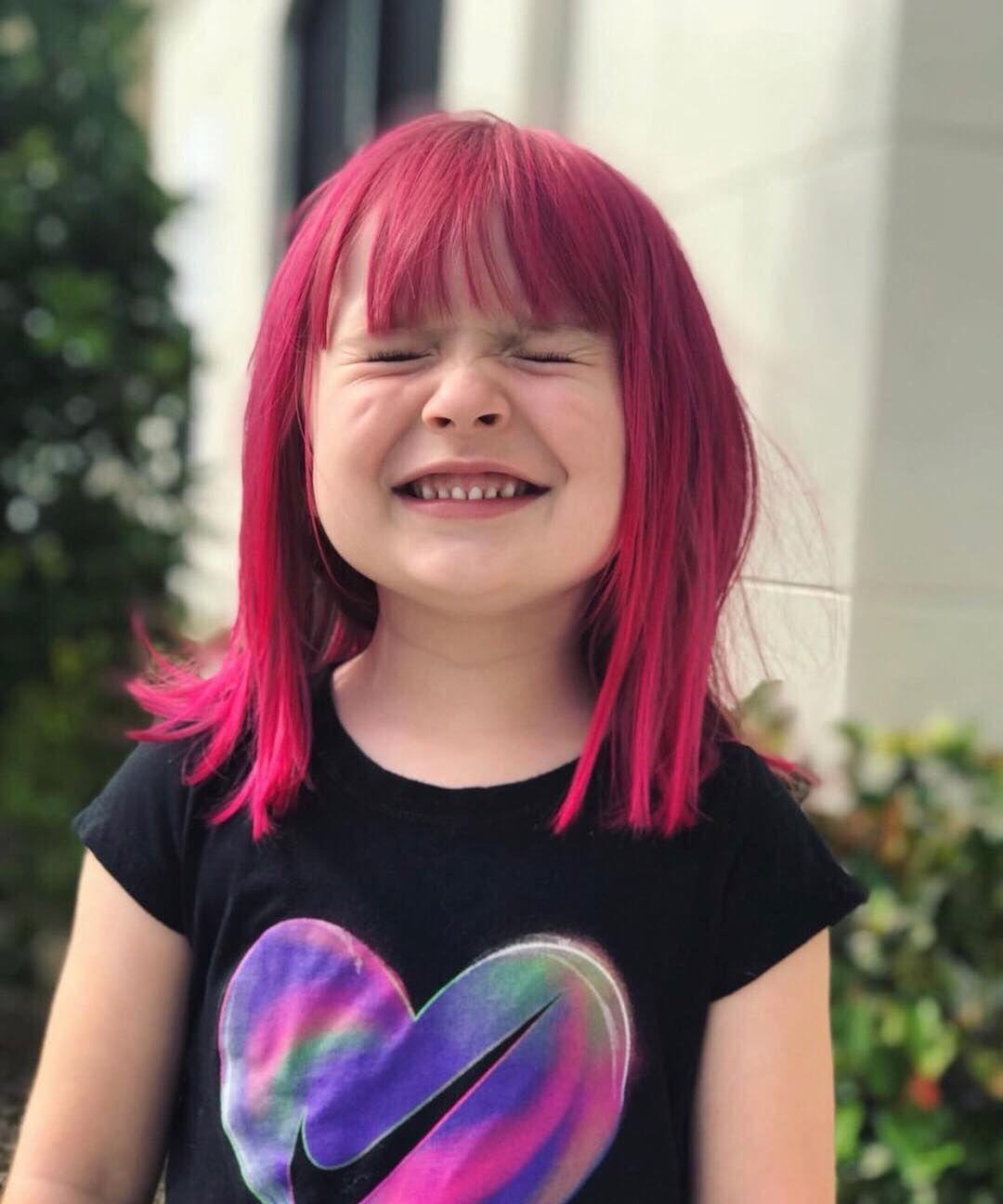 Child With Cool Dark Pink Or Purple Hair Fox Hair Dye Kids Hair Color Arctic Fox Hair Dye