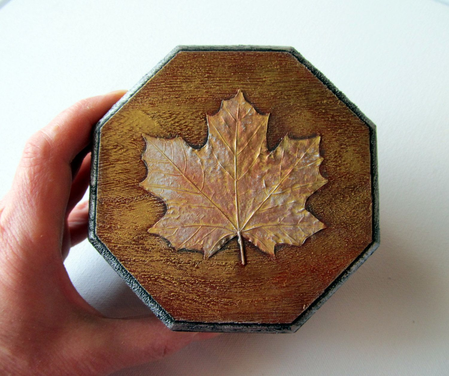 Jewelry Box Decoupage Maple Leaves and Leaf Skeletons in