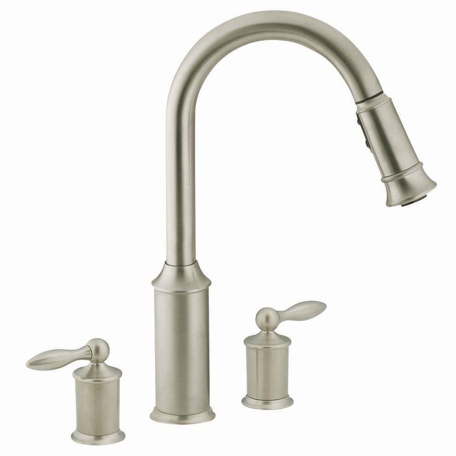 Shop Moen Aberdeen Stainless 2 Handle Pull Down Kitchen Faucet At