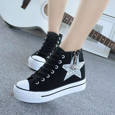 Details about Wedge Heels Platform Lace Up High Top Trainers Sneakers Ankle Boots Flats Shoes Details about Wedge Heels Platform Lace Up High Top Trainers Sneakers Ankle...