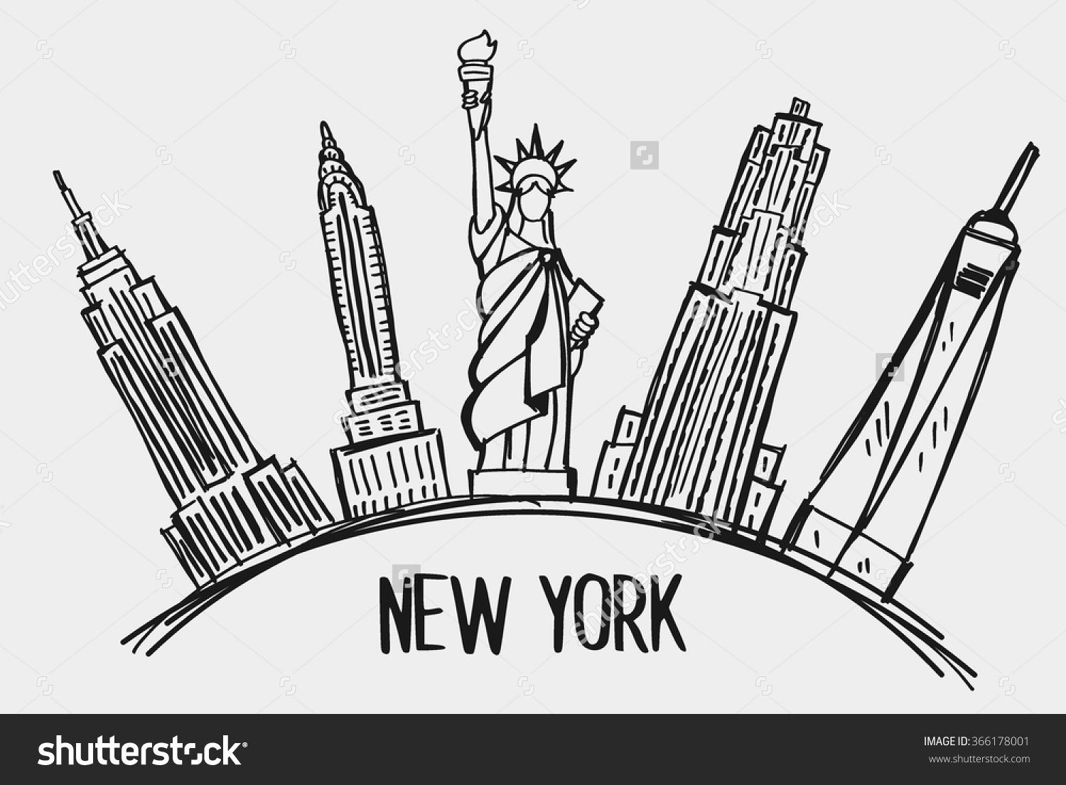 New York City Skyline Line Art Design Concept With