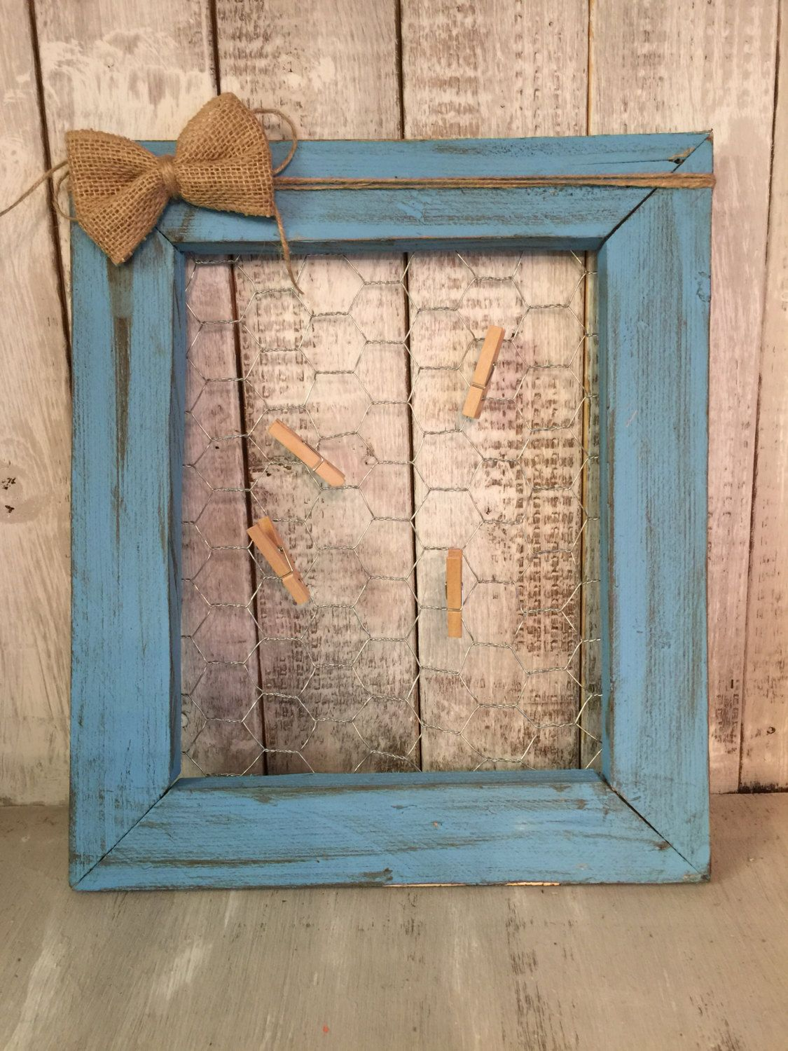 Chicken wire Frame, Rustic Chicken wire Frame, Turquoise Picture ...