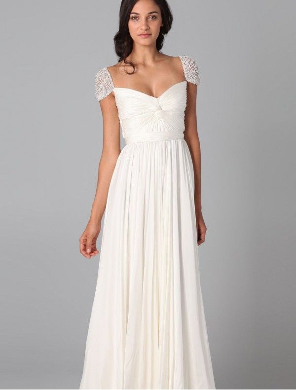 Chiffon Curved Neckline Simple Wedding Dress with Beaded Cap ...