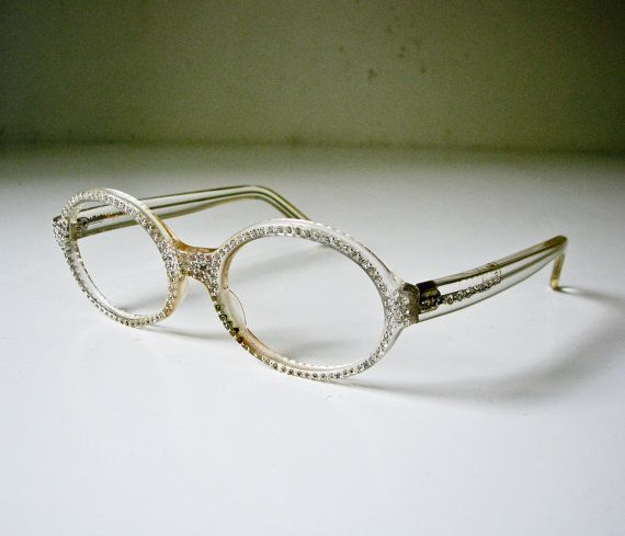 glasses frames with rhinestones 1950s clear plastic and rhinestone eyeglass frames