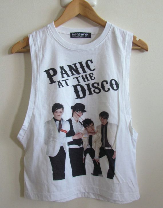 6c2d28545bd8d Panic At The Disco Ladies Drop Down Arm Vest Tank Top Boyfriend T Shirt  Crop Top Green Day All Time Low My Chemical Romance Fall Out Boy on Etsy