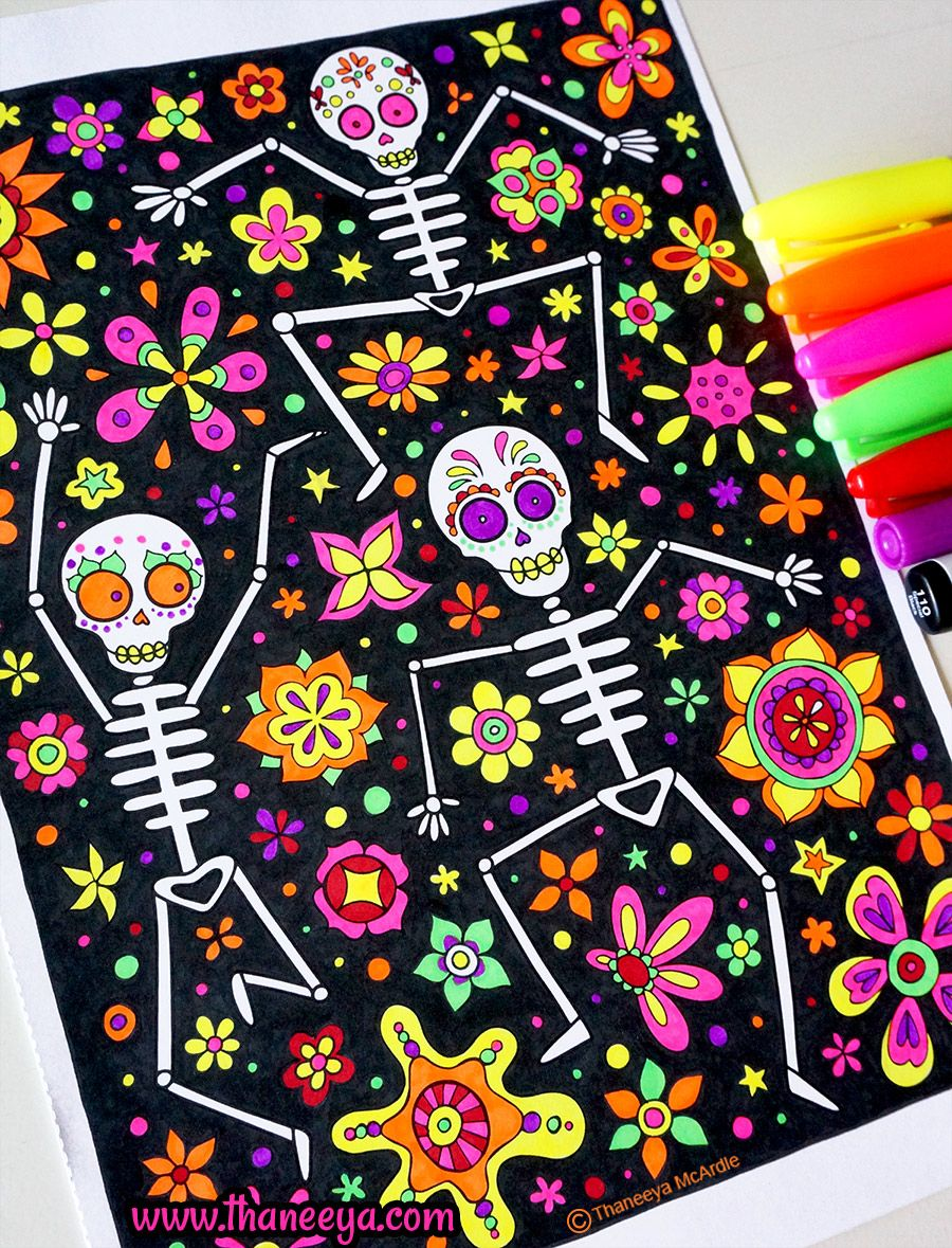 dancing skeletons coloring page from thaneeya mcardles