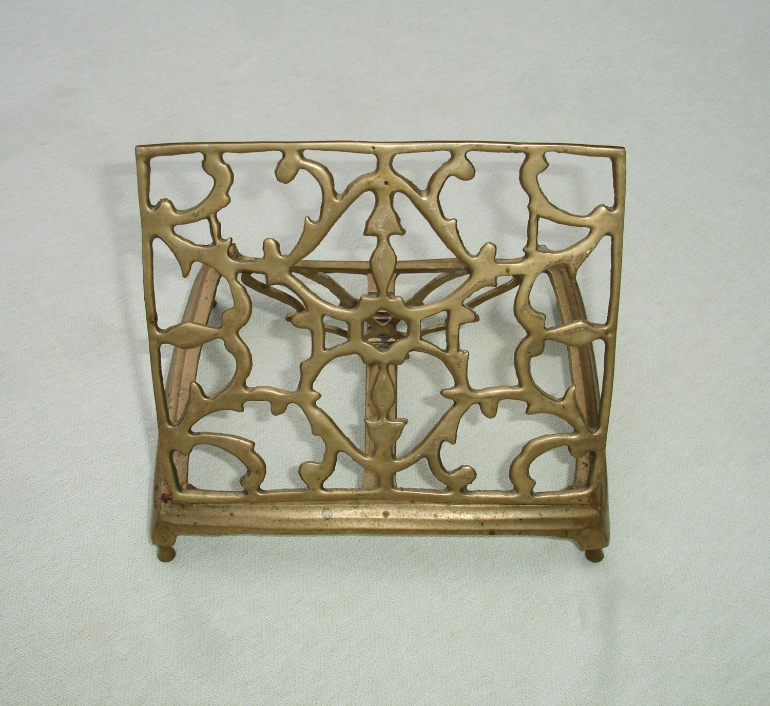 antique vintage florentine gold gilt brass book stand with patina