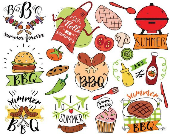 Food summer. Bbq clipart vector barbecue