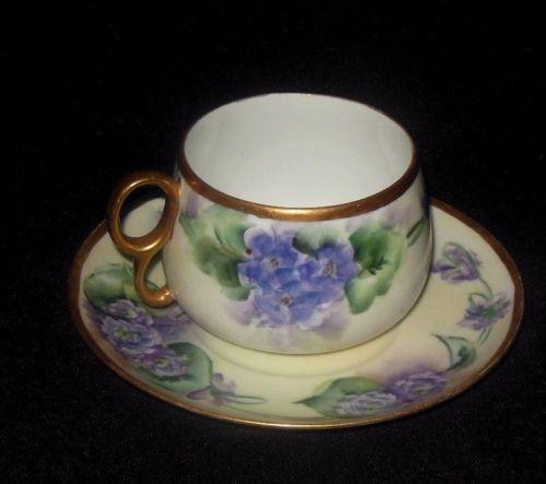 M Z Moritz Zdekauer Austria Hand Painted Tea Cup Saucer Purple