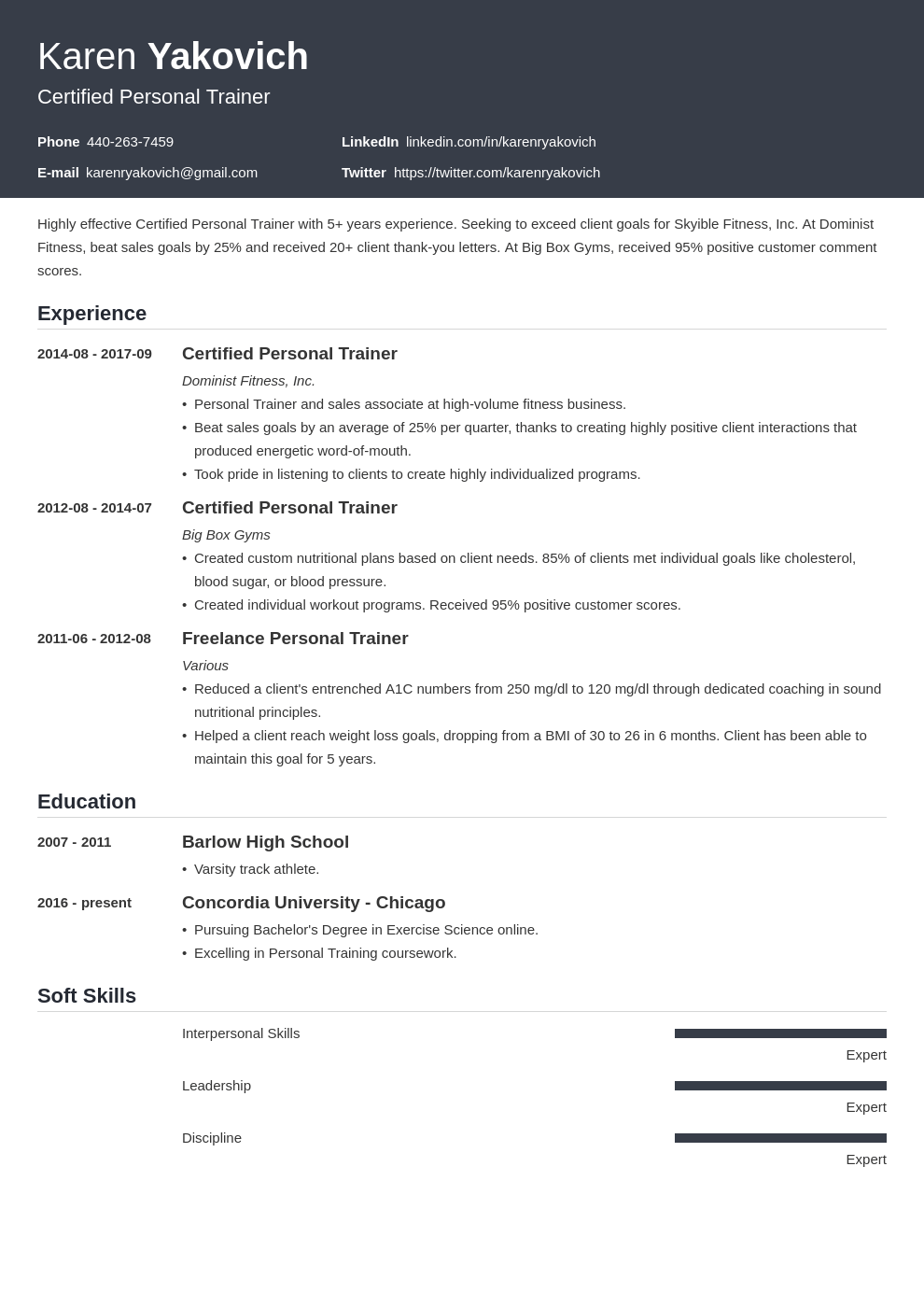 Personal Trainer Resume Example Template Influx Resume Examples Job Resume Examples Resume Skills List