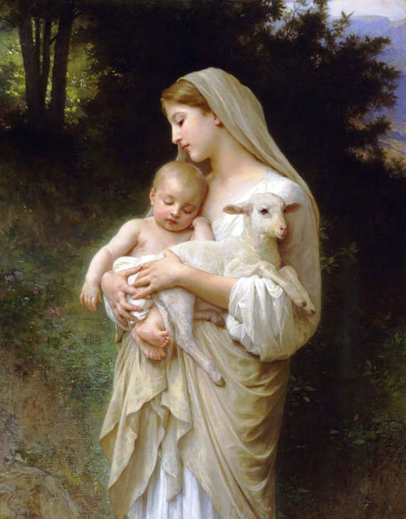 "Madonna of the Lilies 8.5x11/"" Photo Print William-Adolphe Bouguereau Mom Child"