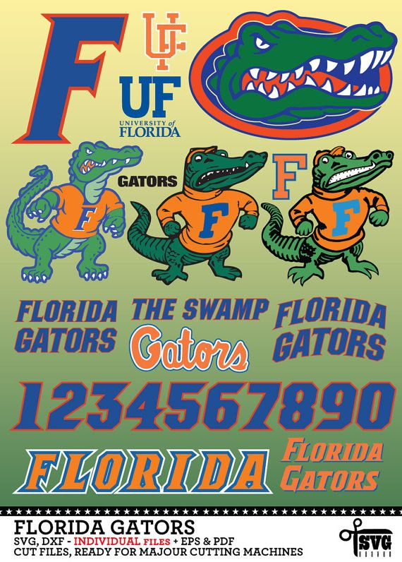 Florida Gators Logos, Numbers. Individual SVG, DXF Vector Digital ...