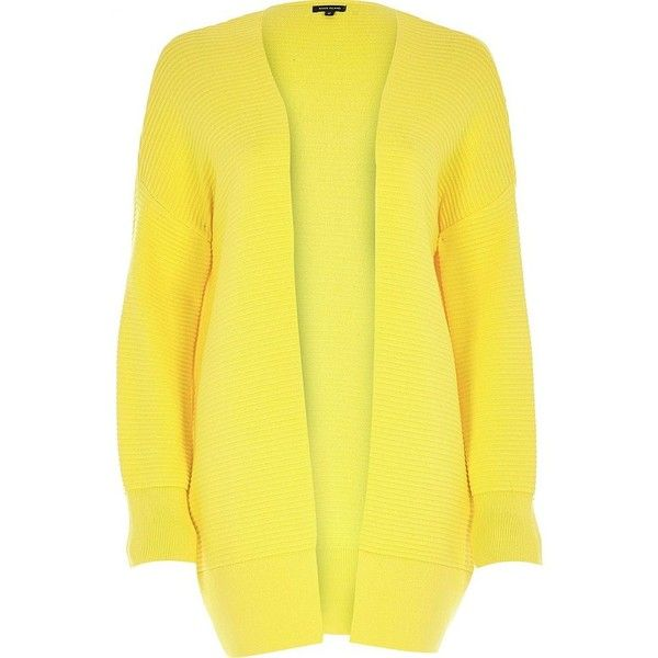 River Island Yellow ottoman ribbed long sleeve cardigan (52 AUD ...