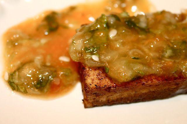Tofu steak with apricot mint glaze :)