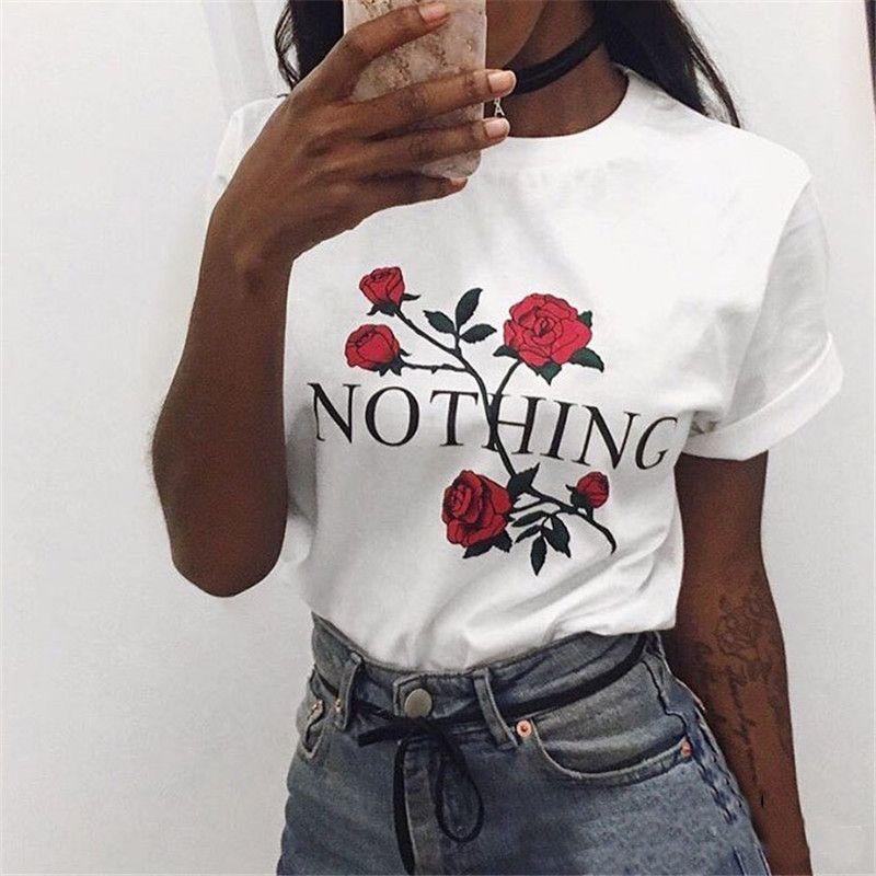 dc8f07ac734 Nada Carta Imprimir Camiseta Rosa Harajuku T Shirt Feminina Verão 2017  Ocasional Camiseta de Manga Curta Plus Size Camisas Do Punk 32785 em  Camisetas de Das ...