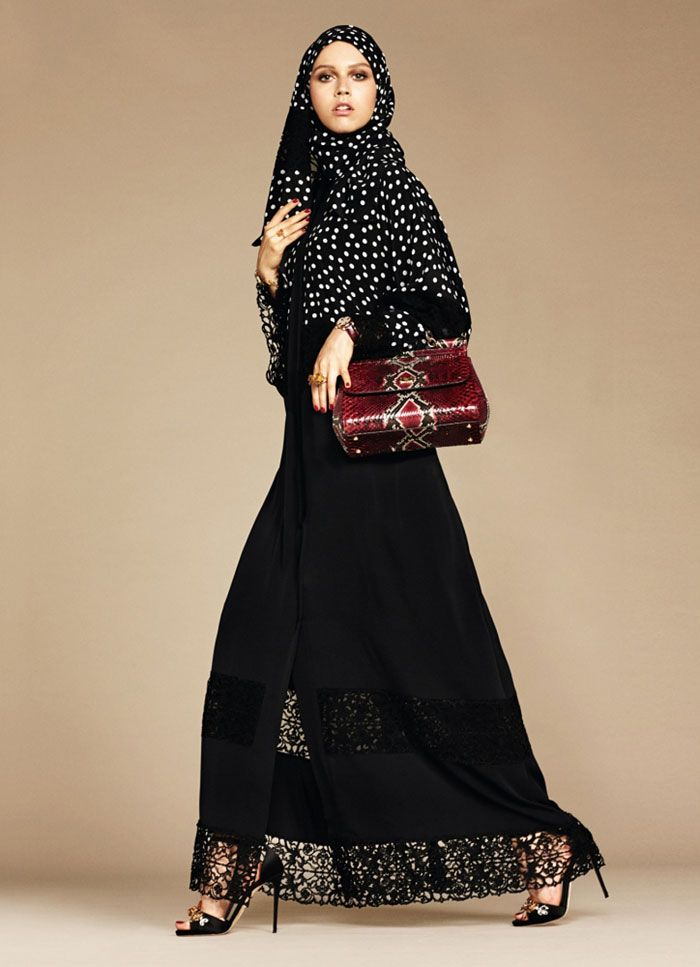 037052fe5 On Sunday, Dolce & Gabbana launched their first collection of hijabs and  abayas. Aiming for modesty, the collection features black and beige items  ...