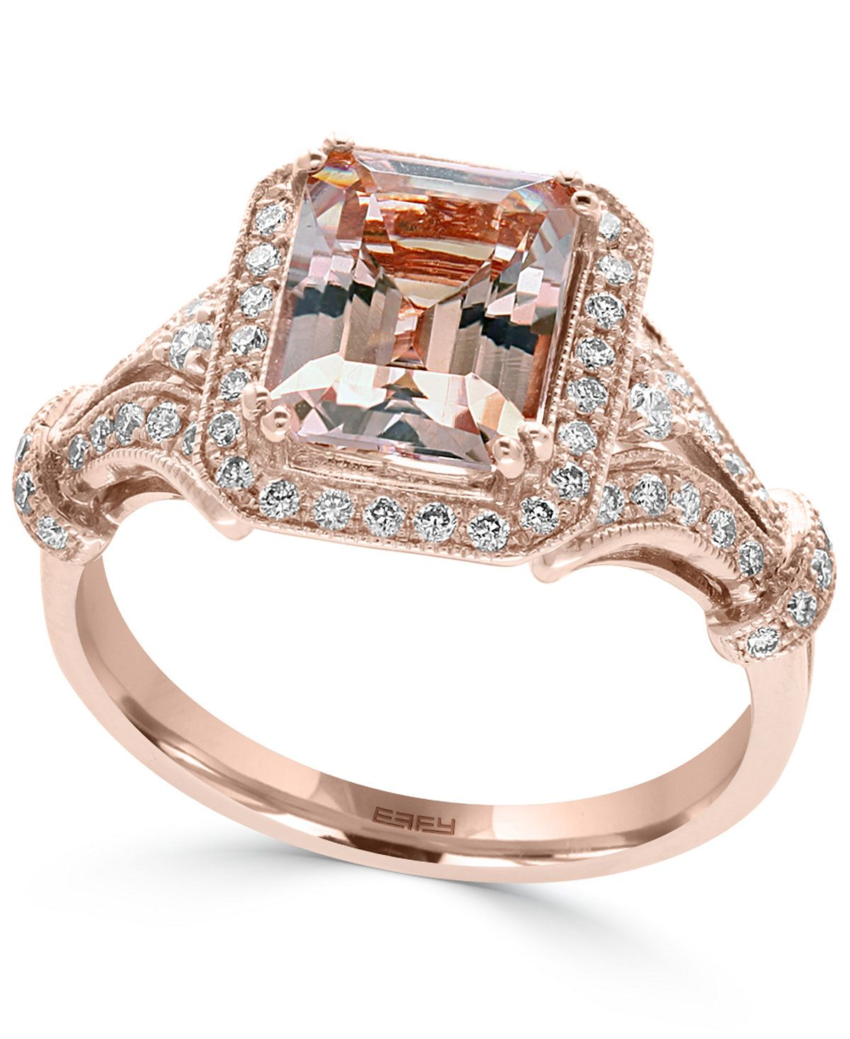 13674318c26d81 EFFY® Morganite (2-1 5 ct. t.w.) and Diamond (1 3 ct. t.w.) Ring in 14k  Rose Gold - Rings - Jewelry   Watches - Macy s