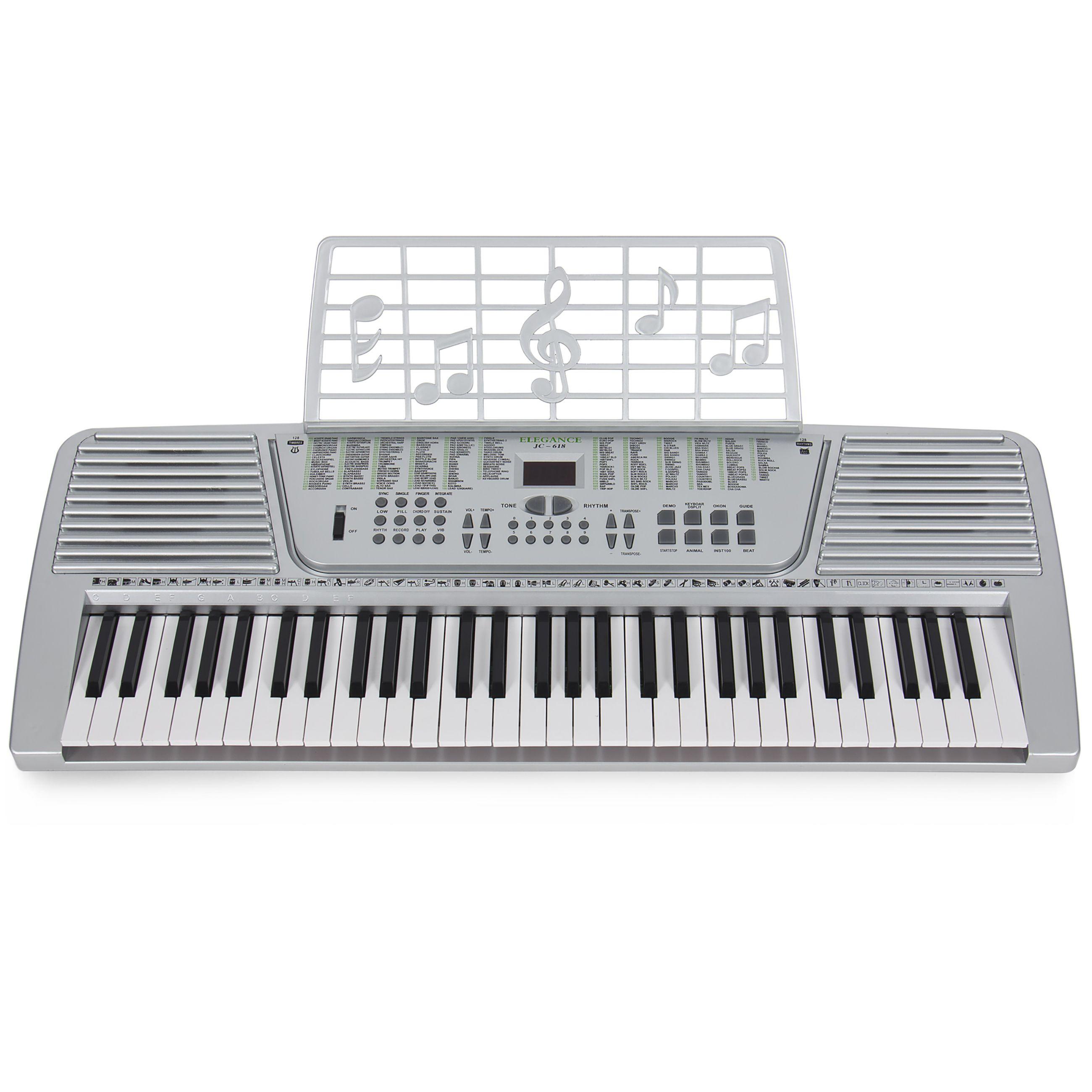 new silver 61 key electronic music keyboard electric piano organ