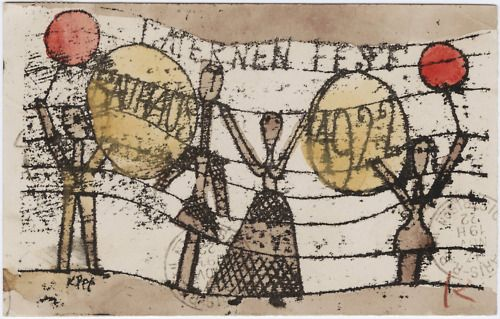 Paul Klee, painted and postmarked postcard, to  Katherine Dreier, Paris, no date.   (found here)