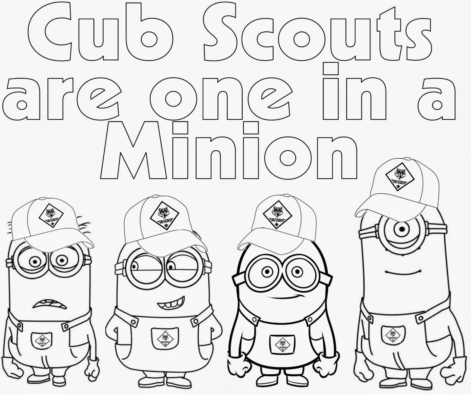Cub Scout Minions Printable Coloring Page From Despicable Me