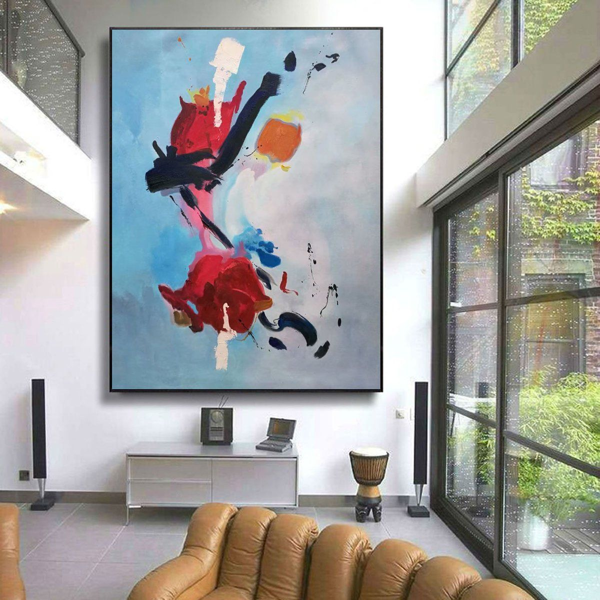 Red Big Canvas Wall Art Great Abstract Paintings L120 Abstract