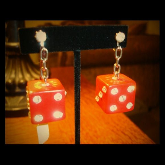 """Vintage Bakelite Dice Earrings From Harold's casino.  These are my favorite pair of earnings but I can no longer wear earrings so the dice are getting lonely in my jewelry box. They are in need of a rockabilly home. Srew backs. Harold""""s casino Jewelry Earrings"""