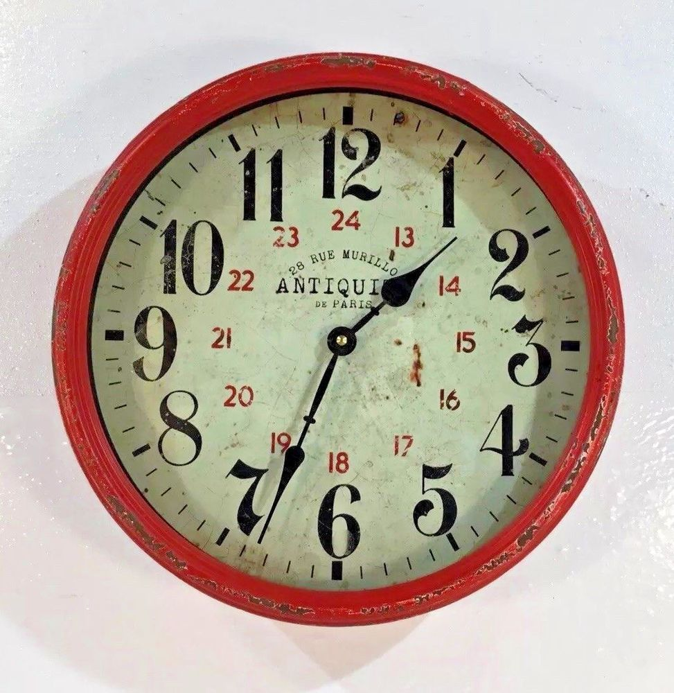 Antiquite De Paris 28 Rue Murillo Red Distressed Metal Rim Wall Clock 13 X 13 28ruemurilloantiqudeparis Wall Clock Clock Wall