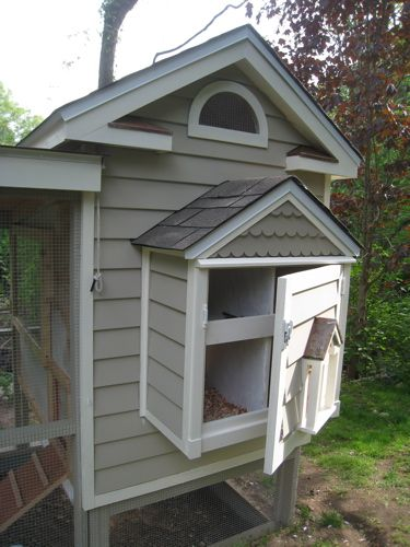 The rope for the chicken's door can be seen in the photo above. By making a heavy door and attaching it to a rope and pulley, operation from outside the coop is simple - pull rope, hook on peg and the hen's are free.