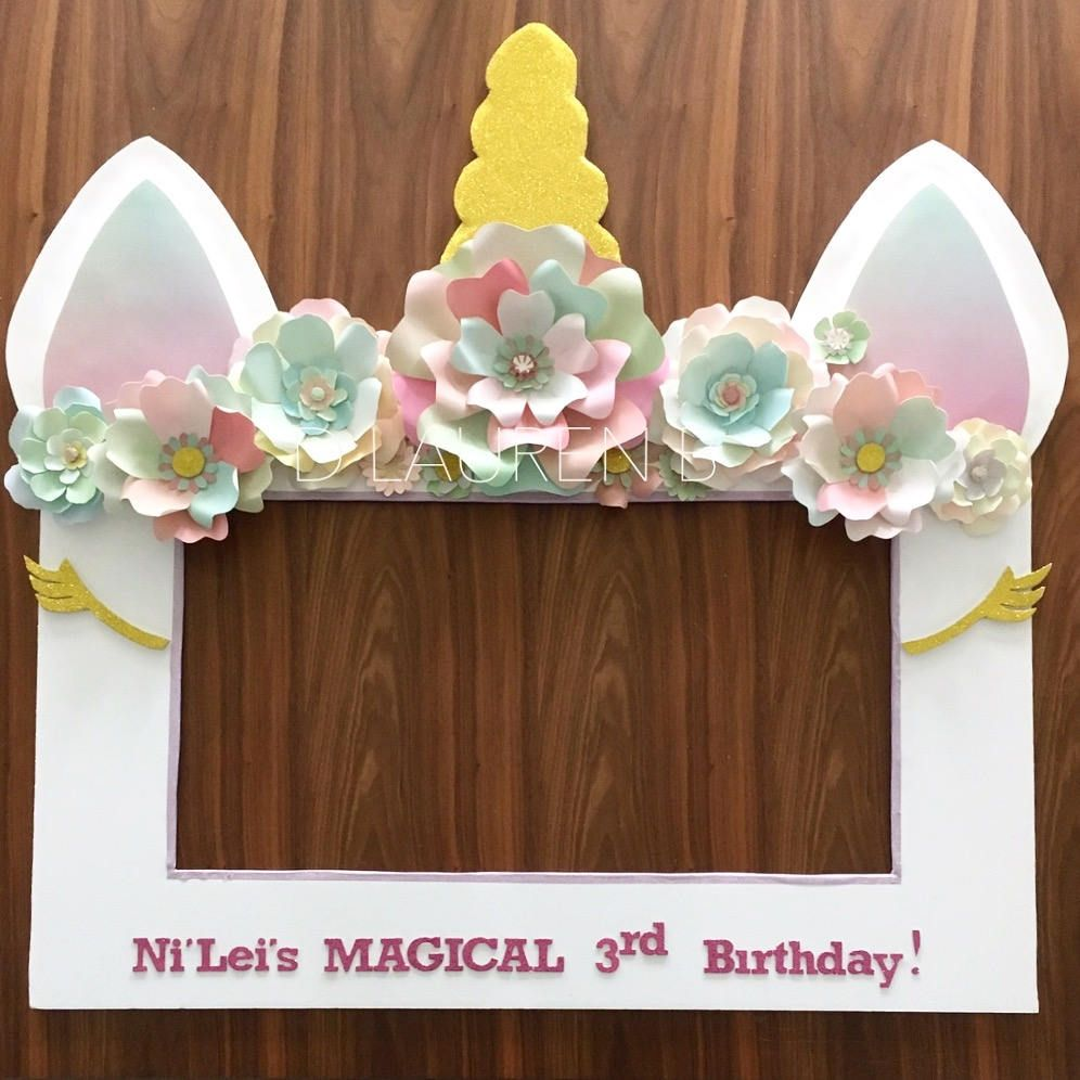 Unicorn theme selfie photo booth frame prop party for Baby tv birthday decoration