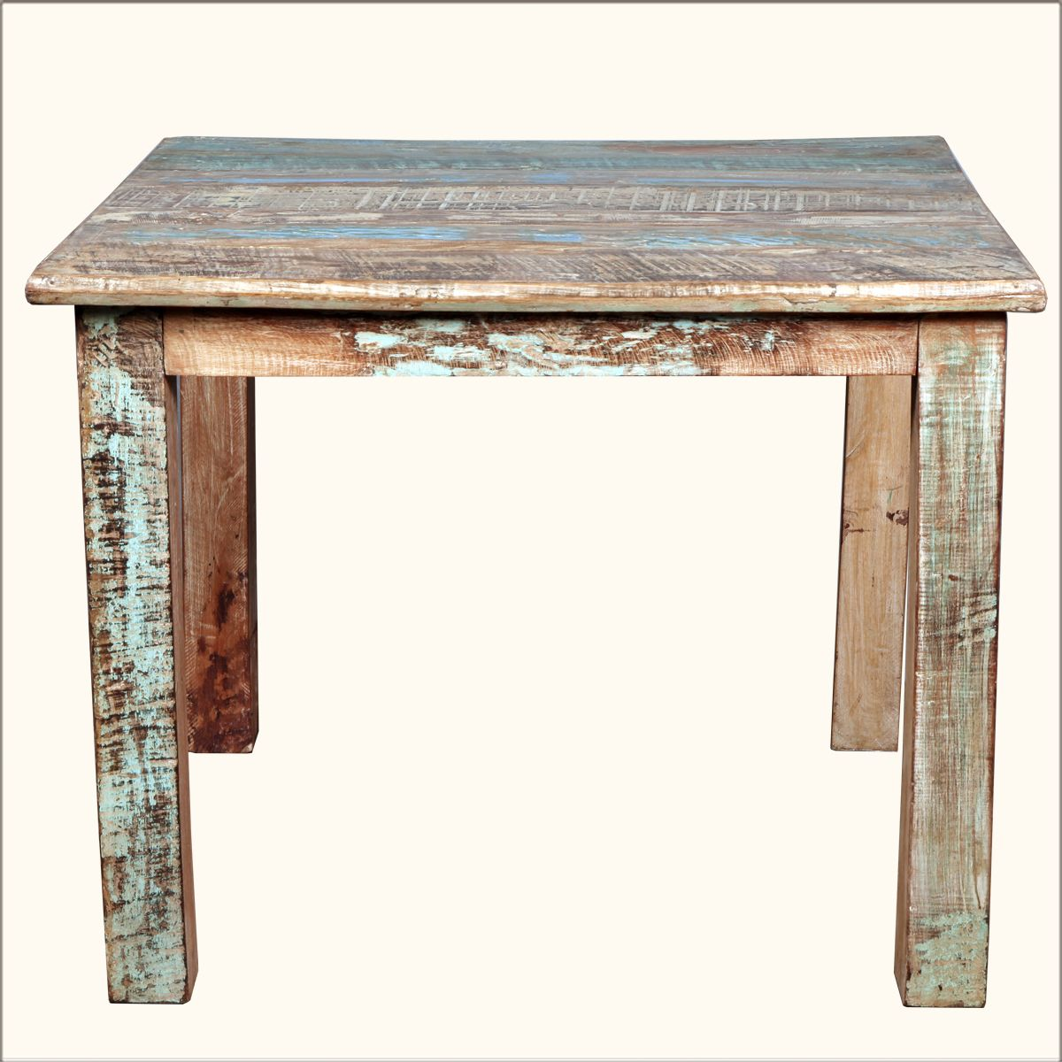 Wooden square dining table - Rustic Reclaimed Wood Distressed 40 Square Kitchen Dining Table Furniture