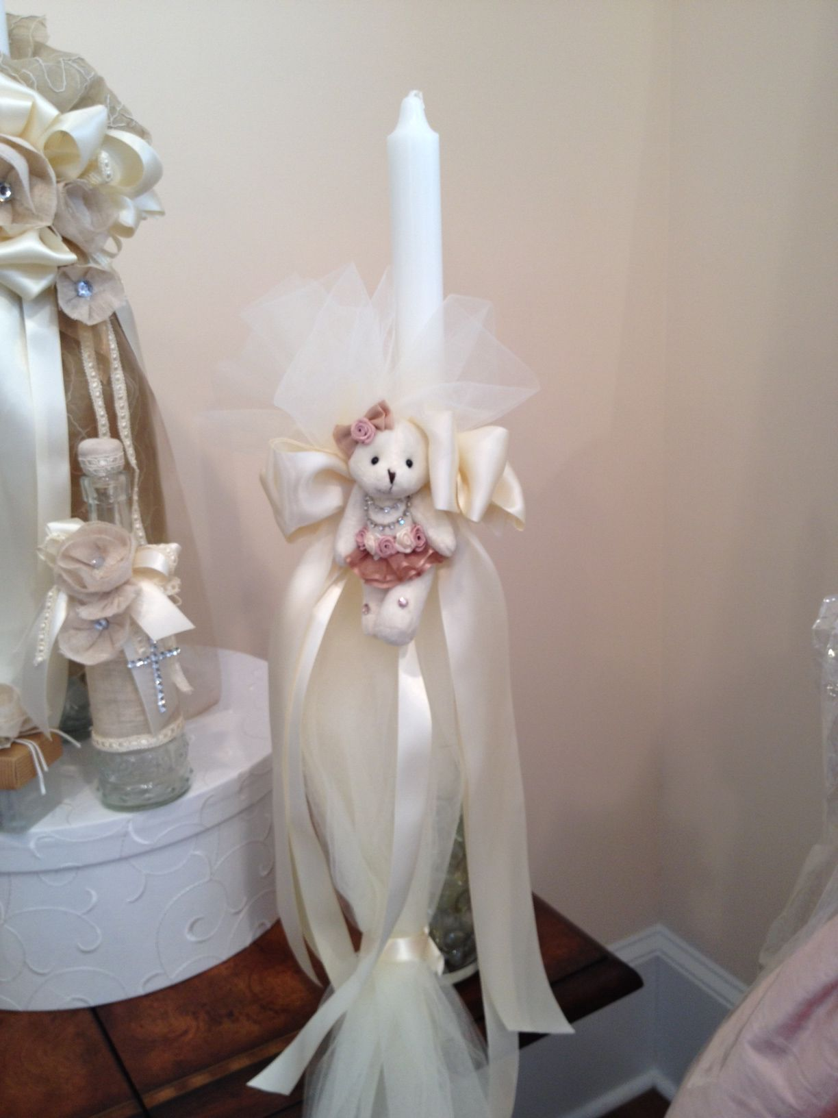 Beautiful candles in store, or made to order for your Baptism or Christening!