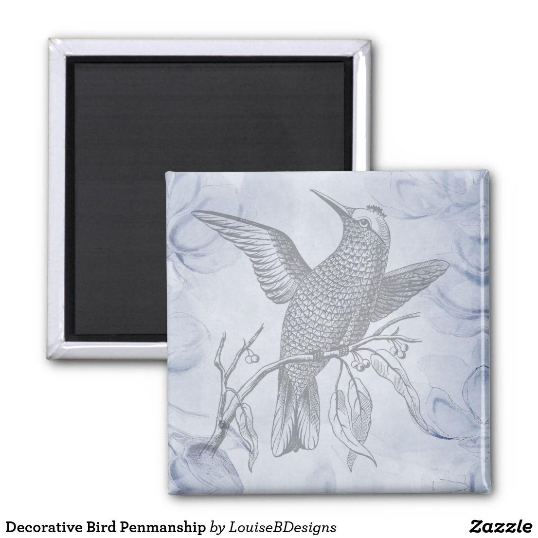 Decorative Bird Penmanship Magnet With Images