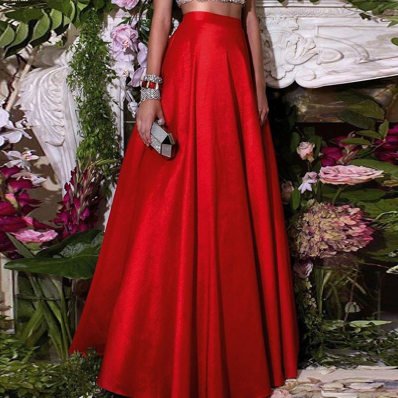 Formal Chic Hot Red Floor Length Skirts For Women To Formal Party ...