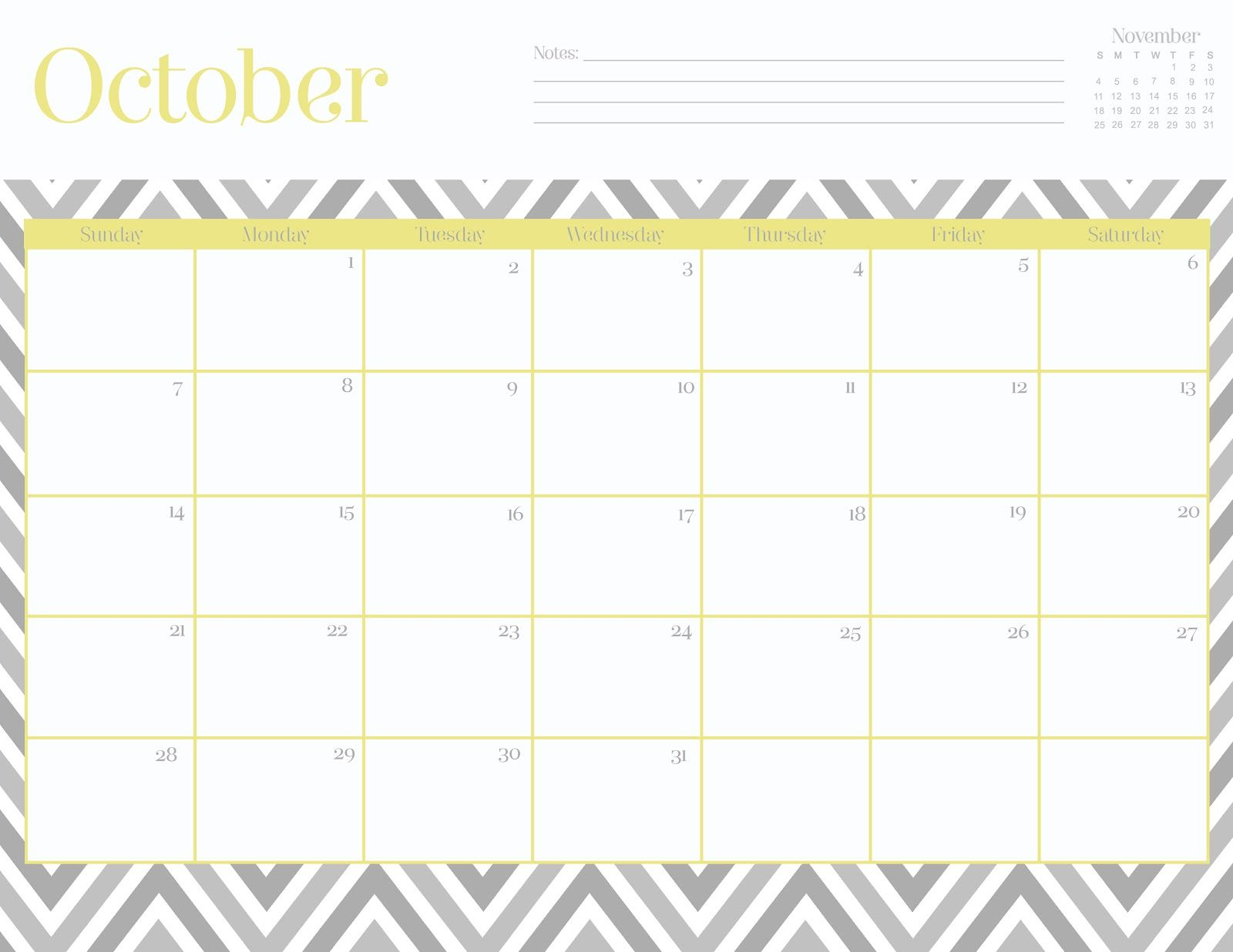 Oh So Lovely Free October Printable Calendars  For The Home