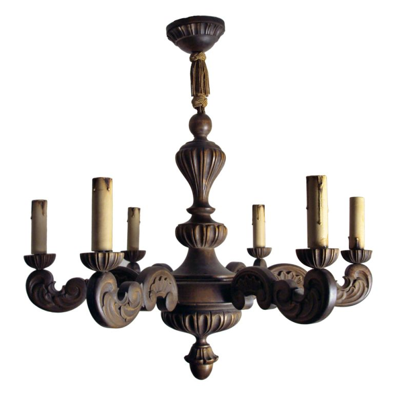 Vintage Swedish Carved Wood Rococo Style 6-Arm Chandelier | From a unique  collection of - Vintage Swedish Carved Wood Rococo Style 6-Arm Chandelier From A