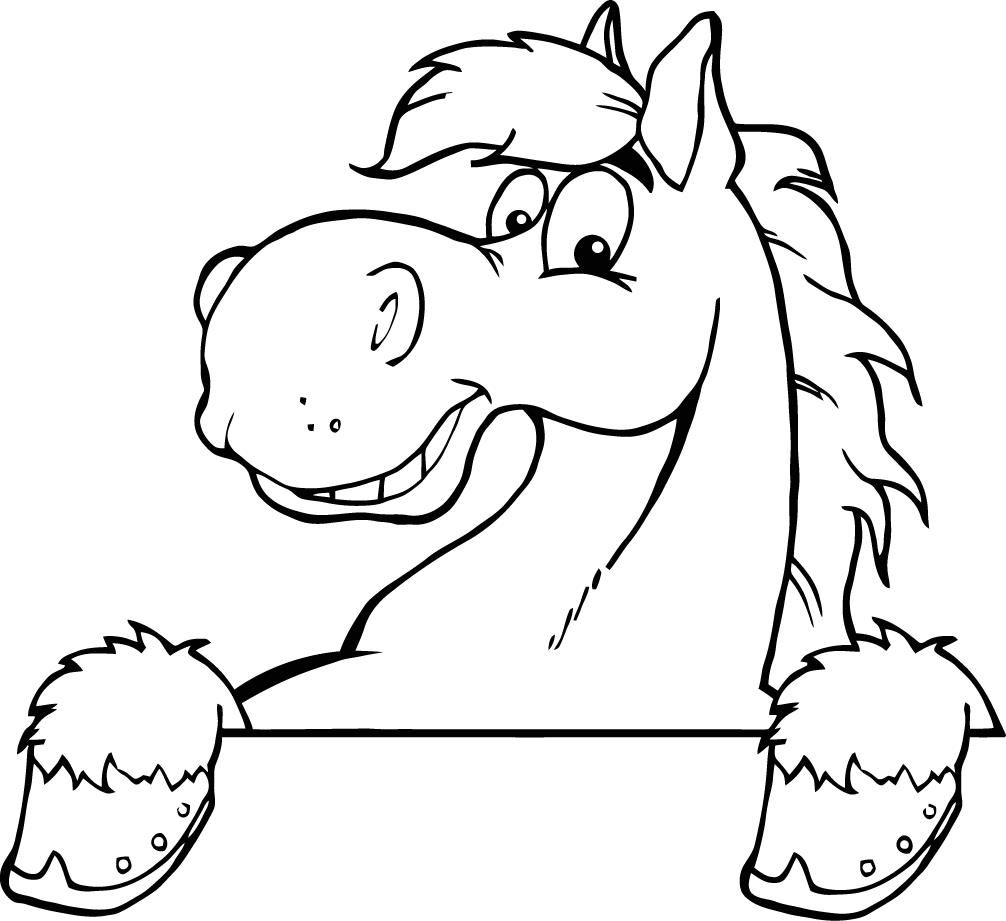 printable outline of a smiley cartoon horse for kids