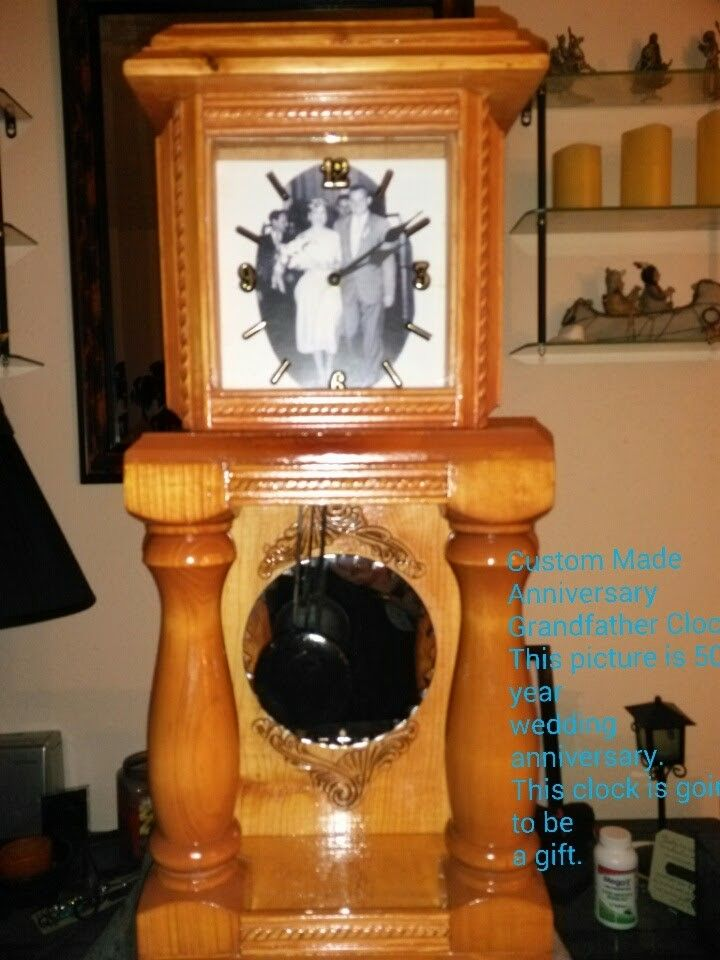 Custom Made Table Top Grandfather Clock.this Is A 50 Year Anniversary  Picture.on