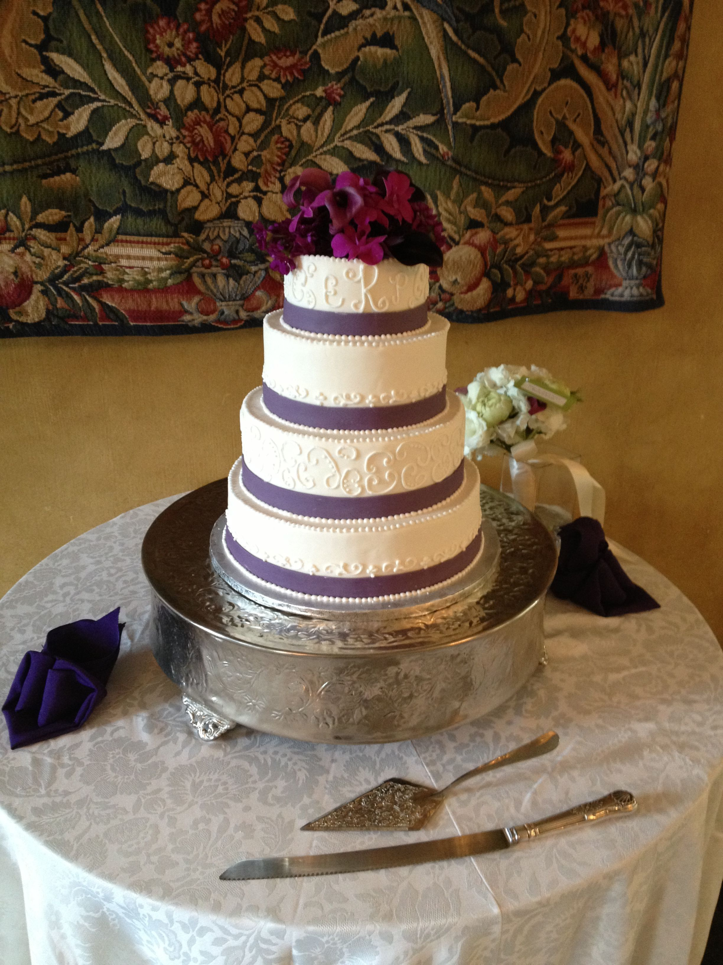 Beautiful Cake With Purple Accents By The Hotel Du Pont Bake Shop