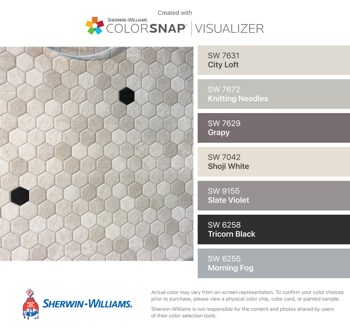 I found these colors with ColorSnap® Visualizer for iPhone by Sherwin-Williams: City Loft (SW 7631), Knitting Needles (SW 7672), Grapy (SW 7629), Shoji White (SW 7042), Slate Violet (SW 9155), Tricorn Black (SW 6258), Morning Fog (SW 6255). #cityloftsherwinwilliams I found these colors with ColorSnap® Visualizer for iPhone by Sherwin-Williams: City Loft (SW 7631), Knitting Needles (SW 7672), Grapy (SW 7629), Shoji White (SW 7042), Slate Violet (SW 9155), Tricorn Black (SW 6258), Morning Fog (S #cityloftsherwinwilliams