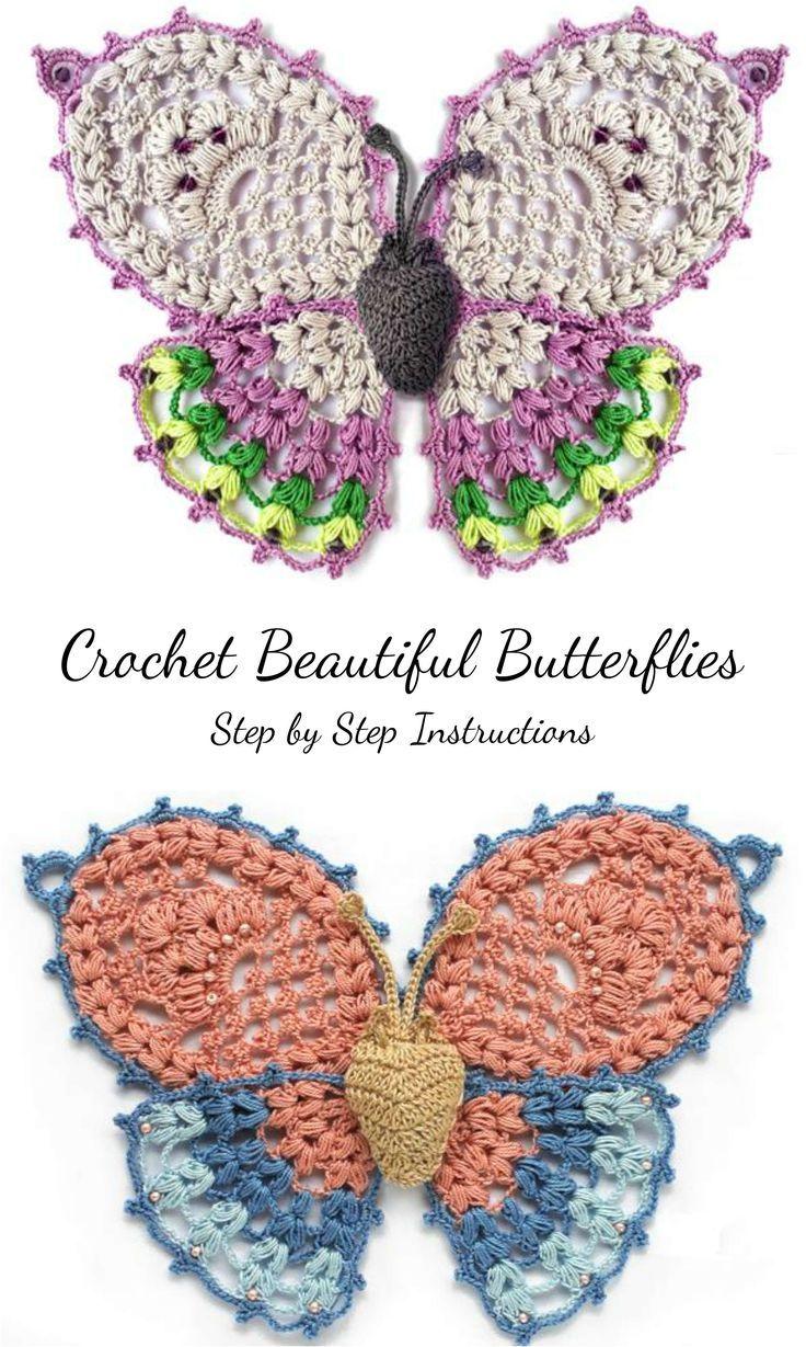 Crochet Beautiful Butterflies | Appliqués and pins | Pinterest ...