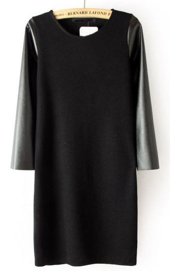 Black Contrast PU Leather Sleeve Dress #SheInside