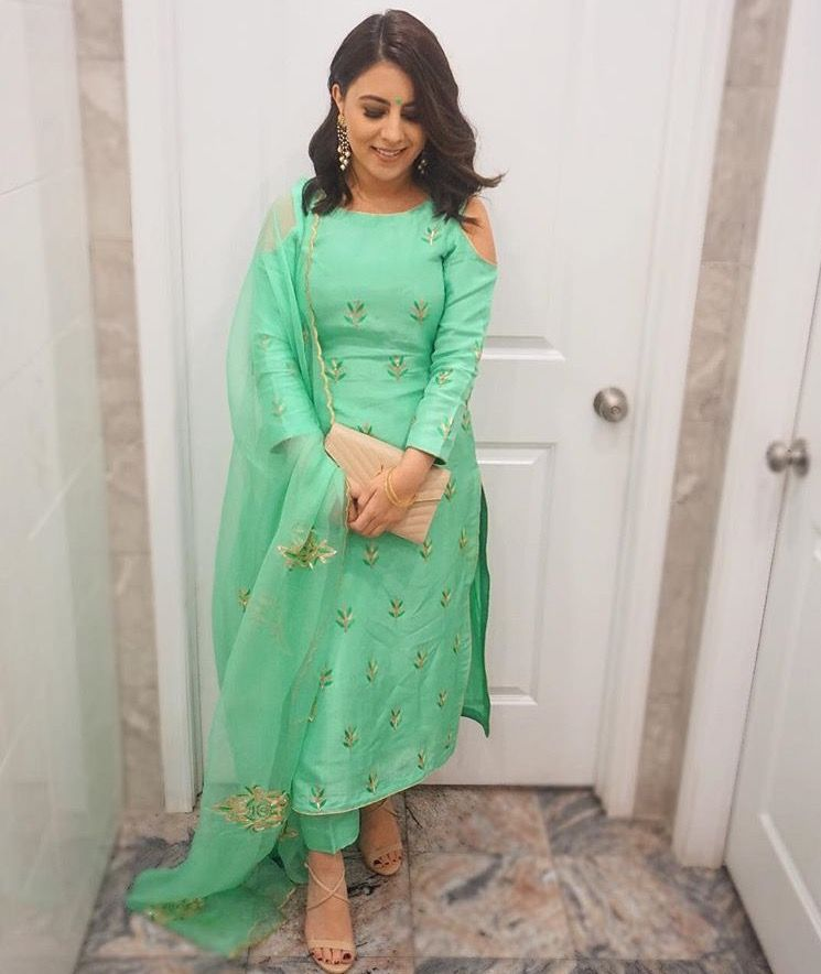 965bb1edd5 Perfect sea green suit.. i found this soo elegant #punjabisuits #seagreen  #trouser #palazzo #coldshoulder