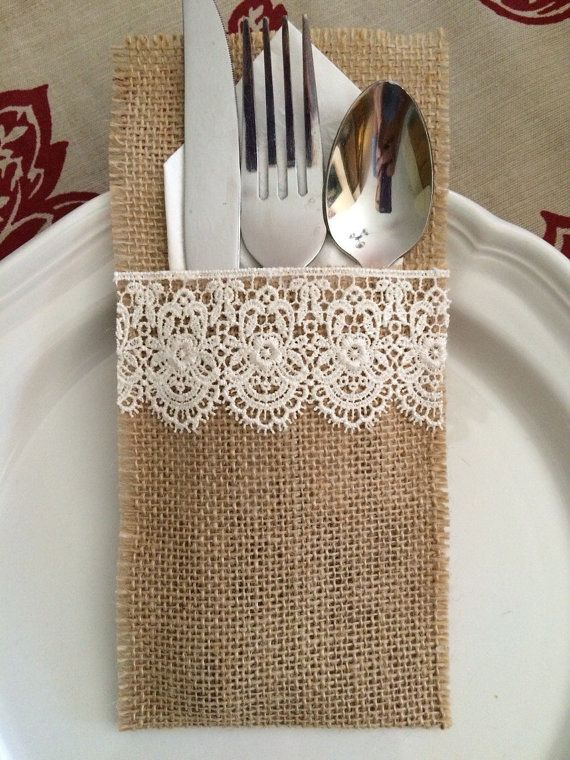 Set Of 10 Burlap Silverware Holders With Lace Shabby