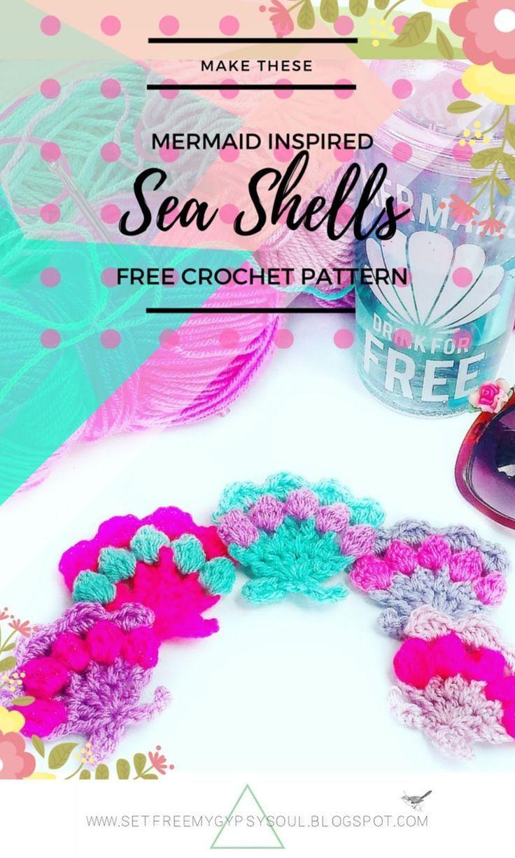 Mermaid Pastel Sea Shells with Bobble Stitch | Pinterest