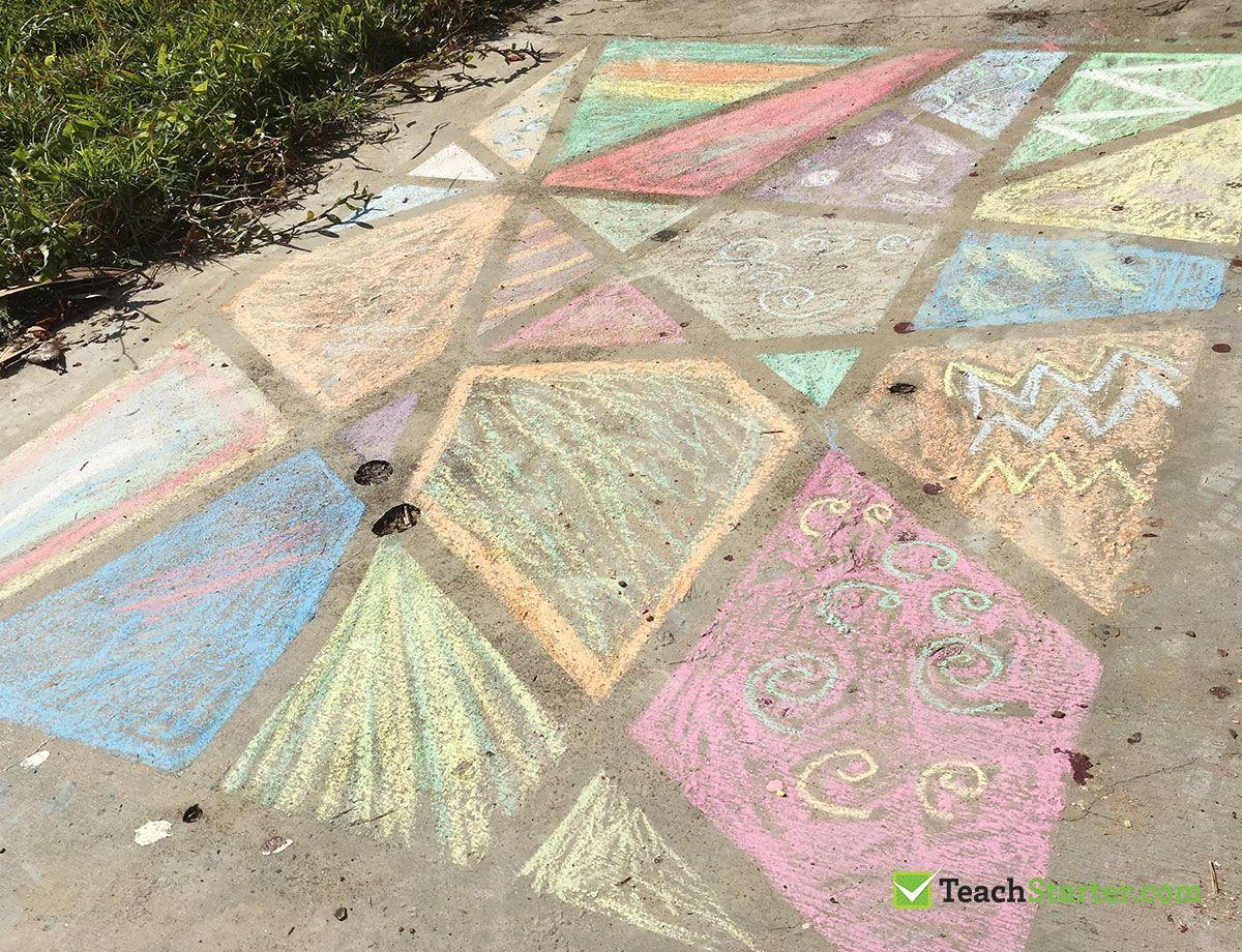 Outdoor Art Activity For Young Children Chalk Line Drawing On Concrete Children Chalk Line Drawing Chalk Activities