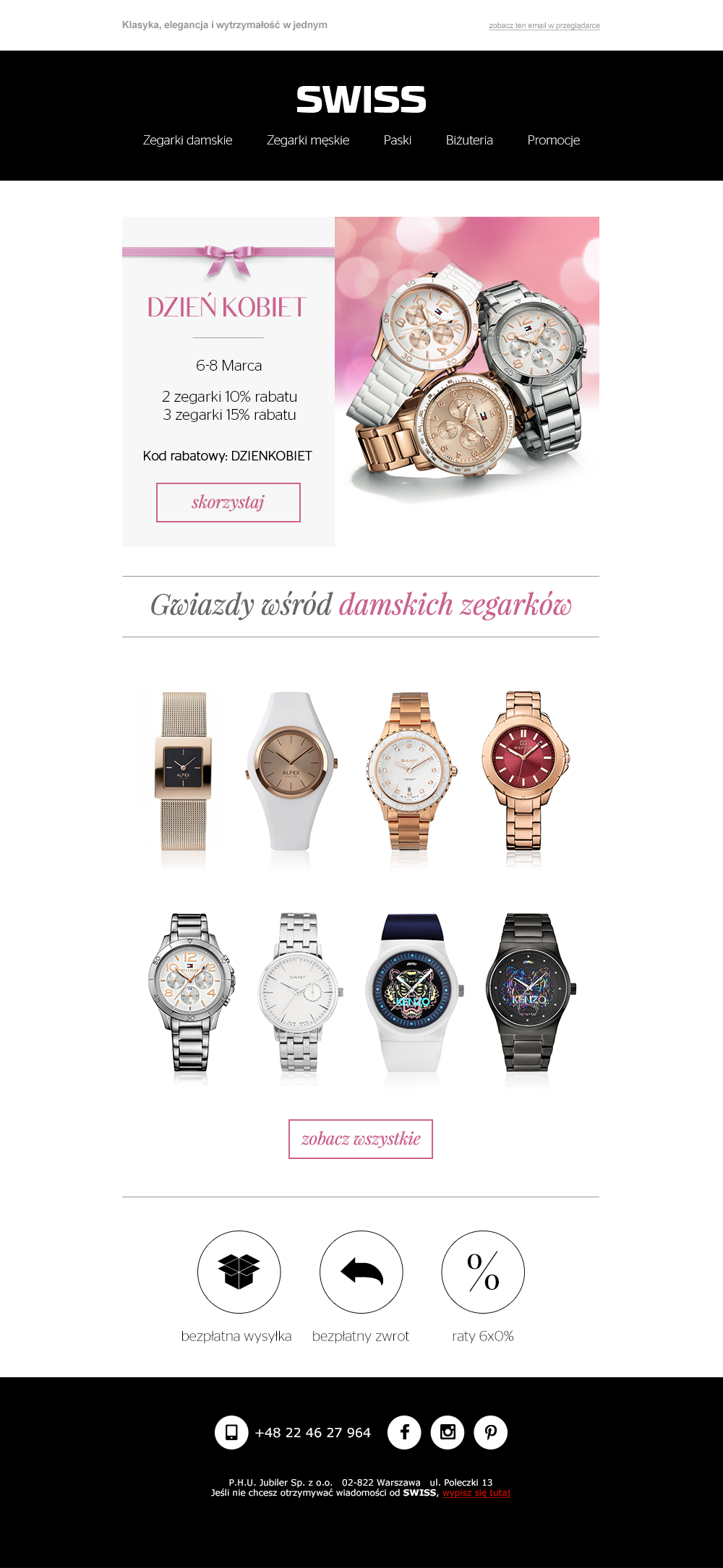 Newsletter przygotowany dla marki Swiss, przedstawiający specjalną ofertę z okazji Dnia Kobiet #email #newsletter #ecommerce  #swiss #template