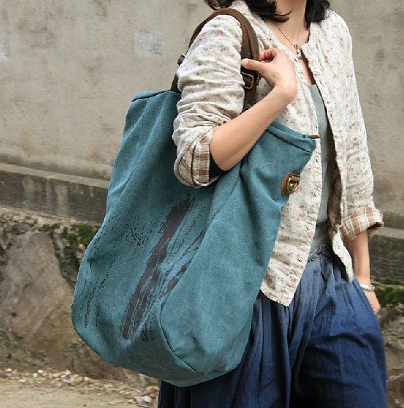 17.7 X18.5/ Blue Canvas Bag/ Laptop bag/ by FashionCanvasShop, $54.00