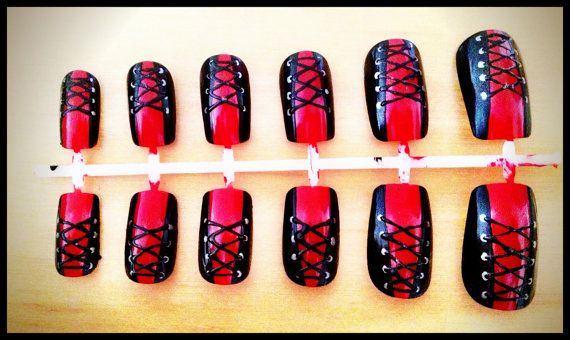 Corsetry set of 12 handpainted false nails by WeHeartNailArt