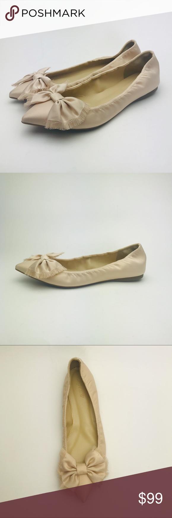J.CREW Pink Lottie Bow Flats in Satin 7