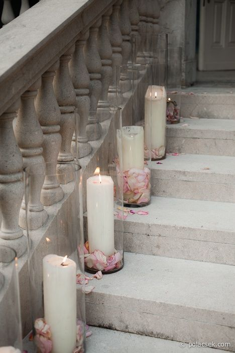 Pillar candles in cylinder vases with flower petals wedding decoration church windows or aisle junglespirit Gallery